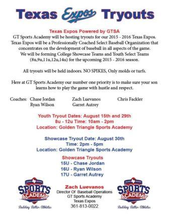 Texas Expos Powered By Gtsa Tryouts Select Baseball Setxsports Com Your Source For Sports On Southeast Texas